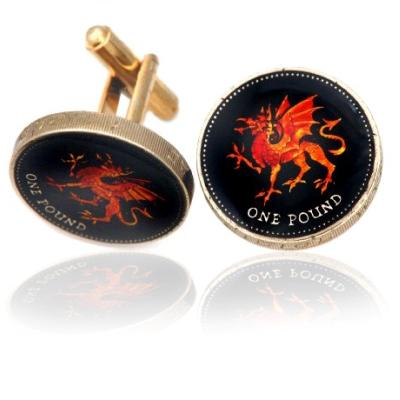 Wales Red Dragon Coin Cuff Links