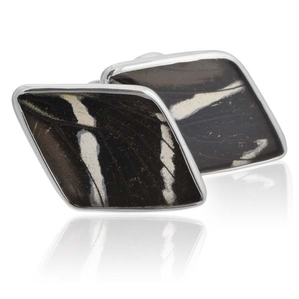 Aymara Diamond Zebra Butterfly Cufflinks