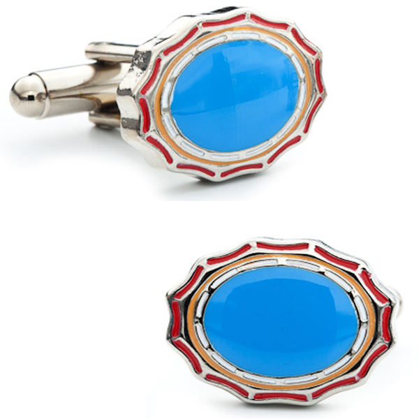 Sky Blue Framed Oval Cufflinks