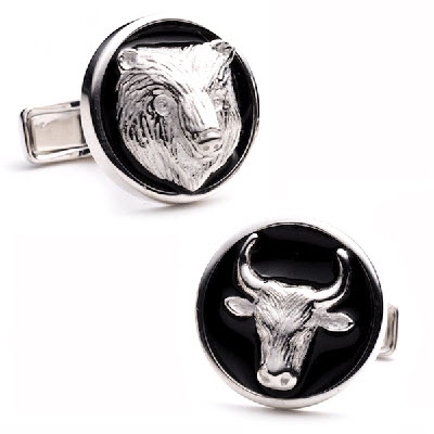 ENAMEL BEAR AND BULL CUFFLINKS