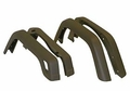 Wrangler Fender Flare Kit (4 Piece) Jeep Wrangler (1997-2004); 4 Piece Set; Flat Black; OE Width.