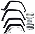 Cherokee Fender Flare Master Kit, 1984-1996 Cherokee, Includes Steel Retainers and Hardware; Flat Black.