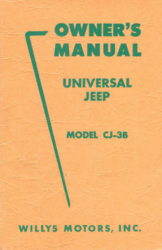 owner s manual for universal jeep model cj3b