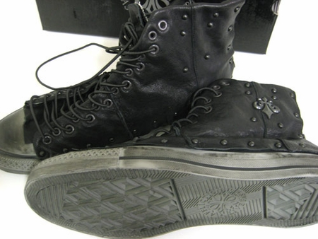 Affliction Live Fast Leather Canvas Sneaker High Top Shoes