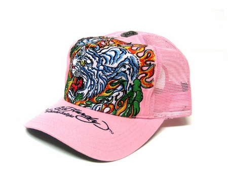 Ed Hardy by Christian Audigier FLAMING TIGER Trucker hat cap in pink