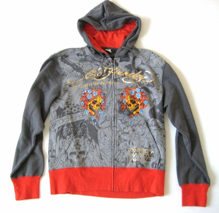"""Ed Hardy by Christian Audigier """"BEAUTIFUL GHOST"""" All Over Print Platnum Hoodie in Grey"""