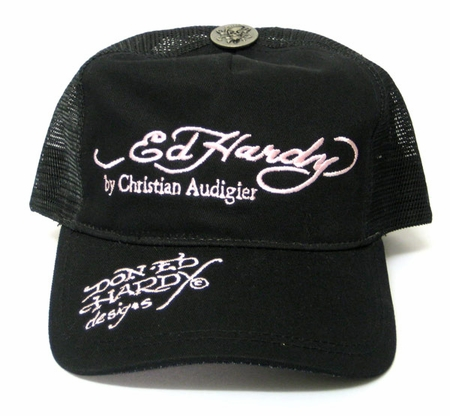 Ed Hardy SIGNATURE Hat Cap in Black on Pink