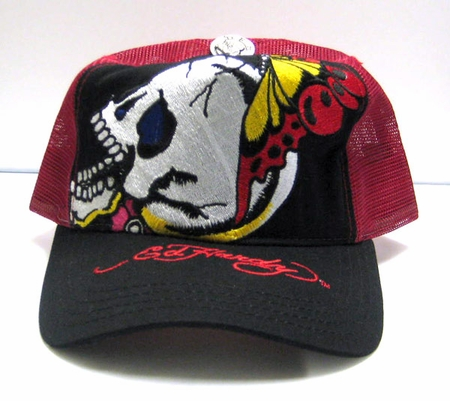 """<p><font color=""""#FF0000"""" face=""""Arial Black"""" size=""""4""""><b>hot </b></font>Ed Hardy Christian A BUTTERFLY SKULL cap hat blk red"""