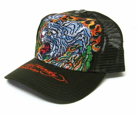 Ed Hardy by Christian Audigier FLAMING TIGER Trucker Hat Cap in Olive