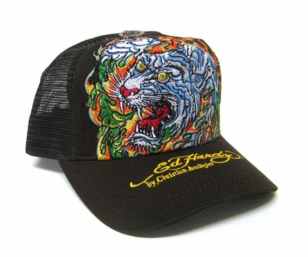 ed hardy by christian audigier flaming tiger trucker hat cap in brown