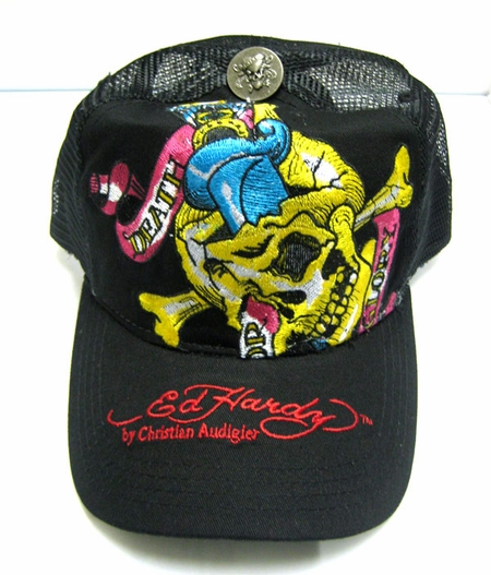 """<font color=""""#FF0000"""" face=""""Arial Black"""" size=""""4""""><b>SOLD OUT  </b></font>Ed Hardy Christian Audigier DEATH OR GLORY cap hat blak"""