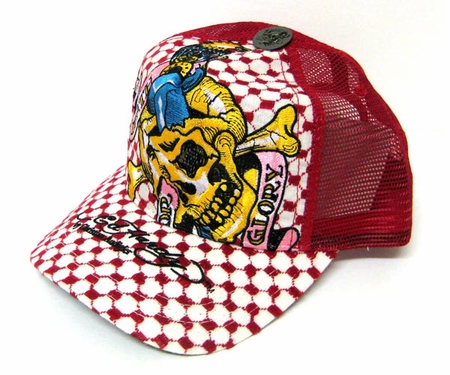 Ed Hardy by Christian Audigier DEATH OR GLORY SPECIALTY Trucker Hat Cap in RED