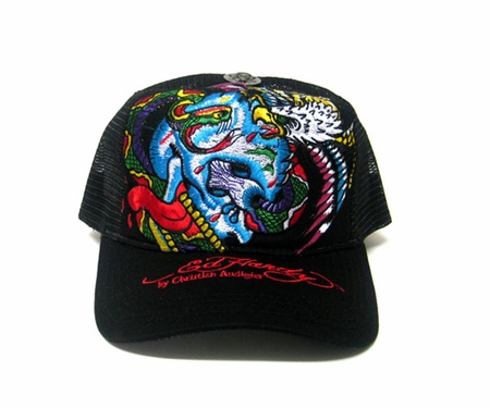 """<font color=""""#FF0000"""" face=""""Arial Black"""" size=""""4""""><b>NEW </b></font>Ed Hardy by Christian Audigier BATTLE Trucker hat cap in black"""