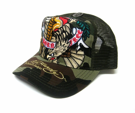 """<font color=""""#FF0000"""" face=""""Arial Black"""" size=""""4""""><b>RARE</b></font>Ed Hardy by Christian Audigier BORN FREE Trucker hat cap in camo"""