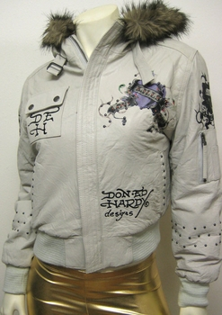 "Women Ed Hardy by Christian Audigier ""LOVE KILLS SLOWLY"" Leather Bomber Jacket"