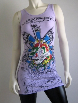 "Ed Hardy by Christian Audigier ""POP ART DRAGON"" Womens Platinum Tank Top Tunic Shirt in Lavender"