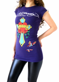 "Ed Hardy by Christian Audigier ""CROSS"" Women Tunic in Purple"