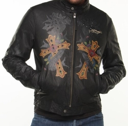"Ed Hardy by Christian Audigier "" Blessed"" Mens Leather Jacket"
