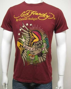 "Ed Hardy by Christian Audigier 2009 ""Born Free"" Mens Tee Shirt in Burgundy"