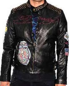 "Ed Hardy by Christian Audigier ""2 Sword Pirate Skull"" Lamb Skin Moto Biker Leather Jacket"