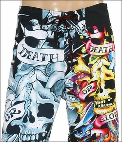 "Ed Hardy by Christian Audigier ""Death Or Glory"" Mens Swim Trunk Boardshorts in Black"