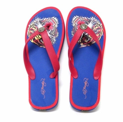 "Ed Hardy by Christian Audigier Mens ""TIGER"" Flip Flop Sandal in Blue/Red"