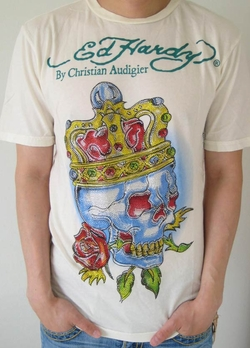 Ed Hardy Audigier SKULL KING PLATINUM T-shirt  in Cream