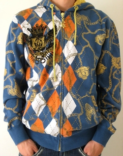 "<font color=""#FF0000"" face=""Arial Black"" size=""4""><b>Special Sale </b></font>Christian Audigier Mens ARGYLE HOODIE in blue"