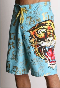 "Ed Hardy by Christian Audigier ""MAN TIGER"" Mens Boardshorts in Aqua"