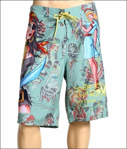 "Ed Hardy by Christian Audigier ""Girls All Over The World"" in Mens Swim Surf Boardshorts in Olive"