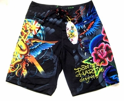 "Ed Hardy by Christian Audigier ""Dragon Rose"" Mens Board Shorts in Black"