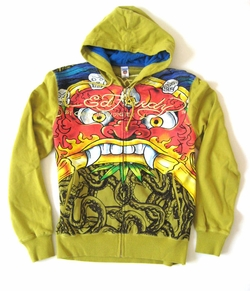 "Ed Hardy by Christian Audigier  Men's ""DEFENDER"" Jumbo Print Hoody in Army"