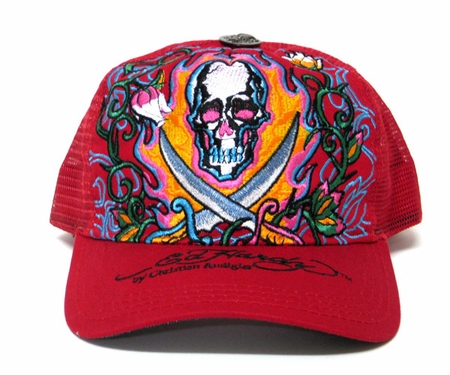 """<font color=""""#FF0000"""" face=""""Arial Black"""" size=""""4""""><b>RARE</b></font>Ed Hardy PIRATE SKULL Hat Cap in Red Dark version"""