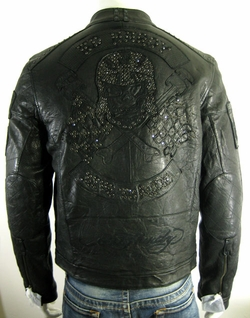 Ed Hardy By Christian Audigier Men's Piston Leather Biker Jacket