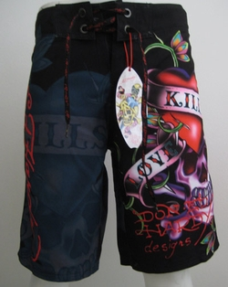 "Ed Hardy by Christian Audigier ""Love Kills Slowly"" Mens Swim Trunks Board Shorts in Black"