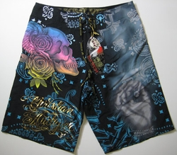 "Christian Audigier ""Blow"" Mens Swim Trunks Board Shorts in Black"