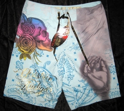 "Christian Audigier ""Smoke"" Mens Swim Trunks Board Shorts in Aqua"