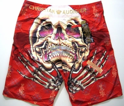 "Christian Audigier ""Turn Tables"" Mens Swim Trunks Board Shorts in Red"