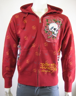 "Ed Hardy Christian Audigier Men ""SKULL ROSE"" Patch Hoodie"