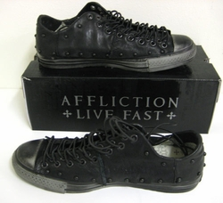2010 Authentic Affliction Live Fast Mens Leather Sneaker Shoes