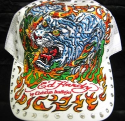 "Ed Hardy ""FLAMING TIGER"" CUSTOM RHINESTONE HAT BY LUXHOLIX"