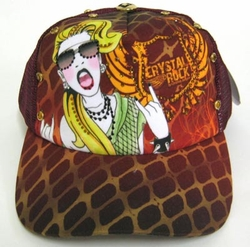 "Chrystal Rock By Christian Audigier ""Madonna"" Hat in Pink"