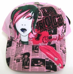"Chrystal Rock By Christian Audigier ""LA ROCK"" Hat in Pink"