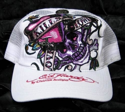 Ed Hardy LOVE KILLS SLOWLY Trucker Hat in White