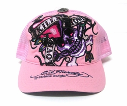 Ed Hardy by Christian Audigier Love Kills Slowly Trucker Hat in Pink