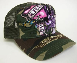Ed Hardy by Christian audigier LOVE KILLS SLOWLY Trucker Hat in Camo
