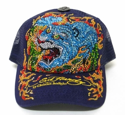 Ed Hardy by Christian Audigier FLAMING TIGER Platinum hat Customized By LUXHOLIX INFERNO EDITION