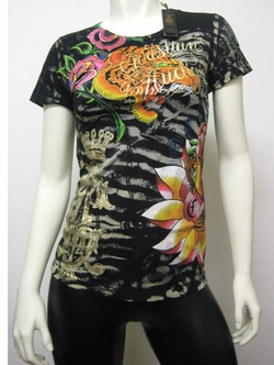 Christian Audigier Women TIGER zebra tee black