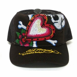 Ed Hardy by Christian Audigier SKULL IN LOVE PLATINUM CRYSTAL hat cap in brown