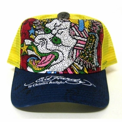 Ed Hardy by Christian Audigier DEMON  PLATINUM CRYSTAL hat  in blue/ yellow